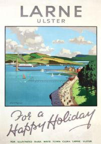 Larne Promenade, Co Antrim, Ulster. Vintage Travel poster by Norman Wilkinson